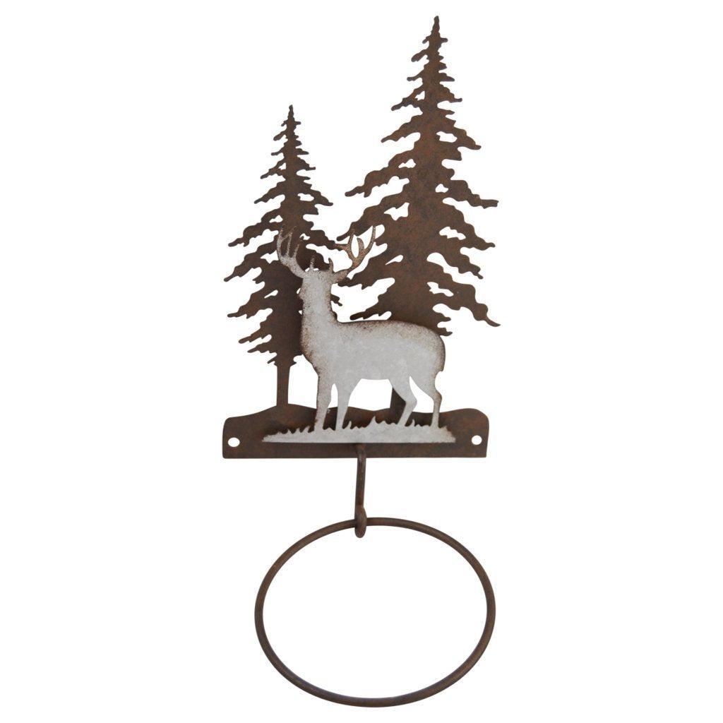 Pine Ridge 3-D Deer Scene Metal Single Hand Towel Holder - Western Decorative Wall Mount Holder For Kitchen, Washroom, Toilet and Bathroom