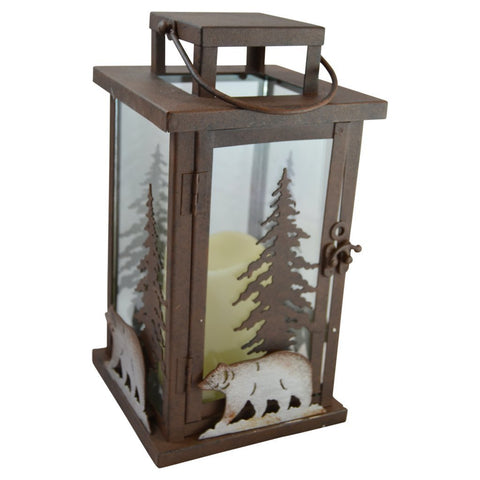 Bear LED Candle Lantern Lights Decorative - Metal Square Holder Table top & Hanging Lantern for Indoor Outdoor by Pine Ridge | 3AAA Rechargeable Battery Operated | Flameless | Halloween and Christmas