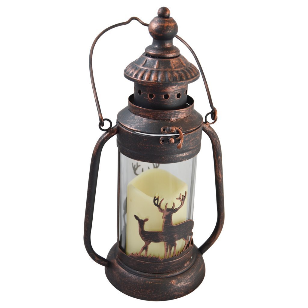 Deer LED Candle Lantern Lights Decorative - Metal Round Holder Tabletop & Hanging Lantern for Indoor Outdoor by Pine Ridge | 3AAA Rechargeable Battery Operated | Flameless Decor Halloween & Christmas