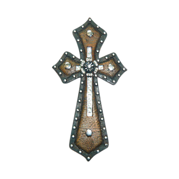 Jewels Decorative Wall Crosses Hanging - Religious Wall Art Cross Made From Polyresin - Wedding Crosses to Hang on Wall - Decorative Family Crosses Wall Decor (Brown, 4