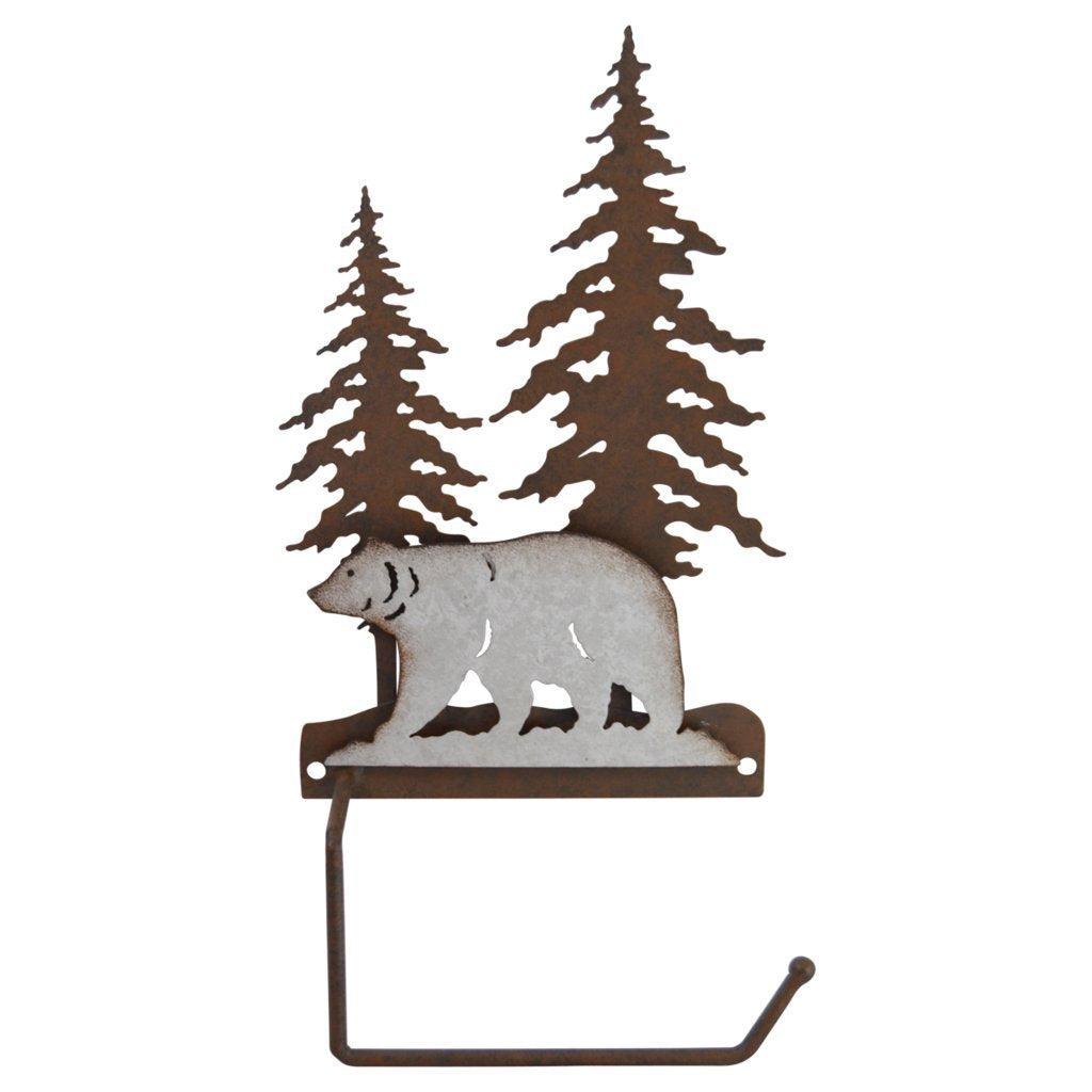 Pine Ridge Toilet Paper Roll Holder 3-D Bear Scene Metal Home Decor - Western Decorative Wall Mount Tissue Holder For Toilet and Bathroom