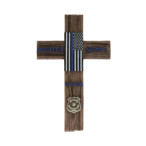 American Flag Police and Fire - Decorative Family Crosses Wall Decor Police Flag Accessories - Police Flag Sign Wall Hanging Cross Special Police Badge Cross Wall Hanging Home Decor (Protect & Serve)