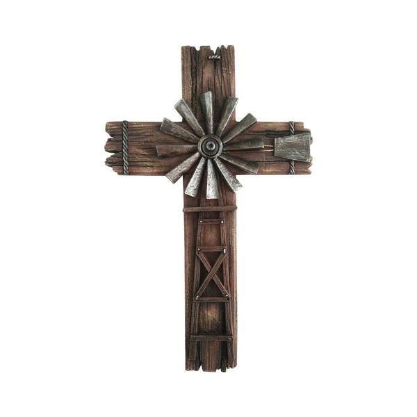 Cross Wall Hanging Home Decor - Western Crosses Wall Decor Windmill Cross - Crucifix Wall Cross Large Made from Polyresin - Decorative Family Crosses Wall Decor - Crucifix Wall Cross Modern