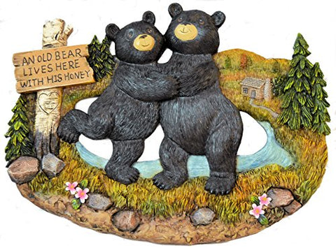 Black Bear Couple Wall Hanging Plaque Inscribed