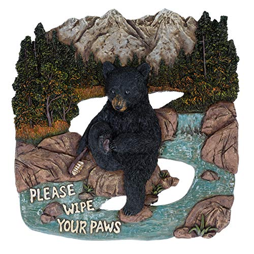 Black Bear Please Wipe Your Paws Lodge Wall Decor for The Home - Cute Black Bear Decor Wall Plaque Country Style Decorations - Home Decor Bears Den Sign Black Bear Framed Art Hunting Lodge Signs