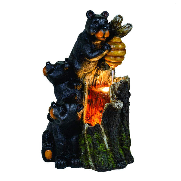 3 Black Bears Climbing Tree with Honey Pot Fountain