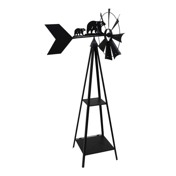 BEAR THEMED METAL WINDMILL