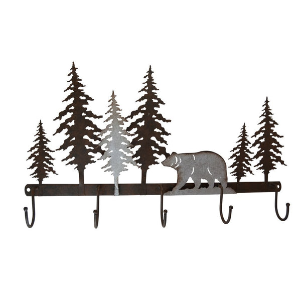 Bear Metal Wall Art With 5 Hanging Hooks