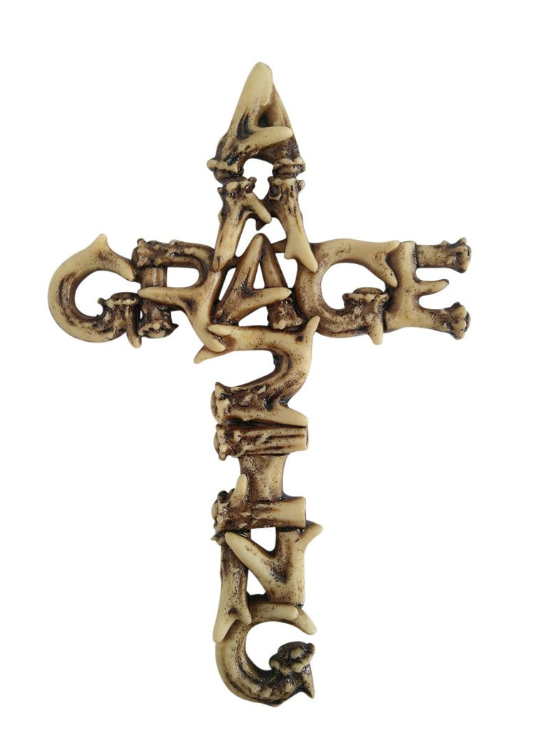 Amazing Grace Antler Christian Wall Cross Home Decor by Pine Ridge - Catholic Crafted Polyresin Art Cross Gift Ideas, 6""
