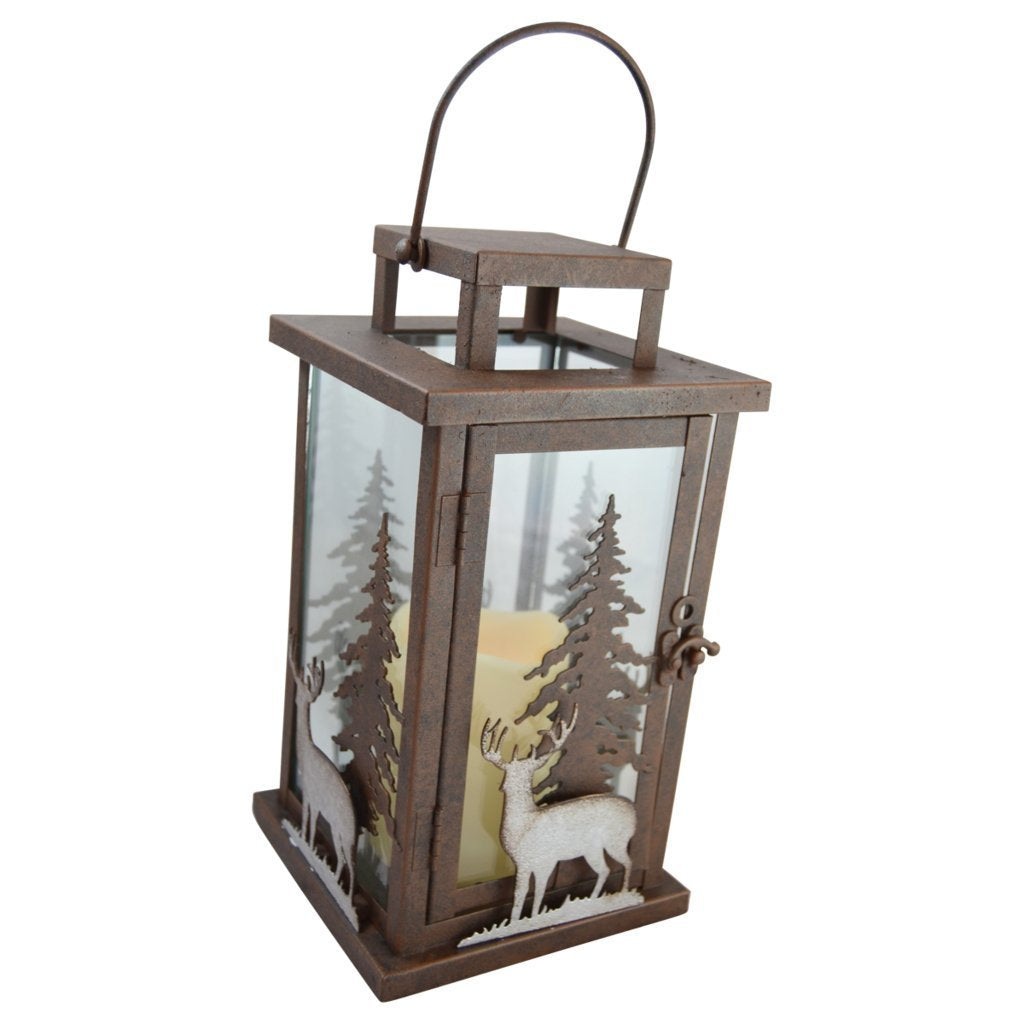 Deer LED Candle Lantern Lights Decorative - Metal Square Holder Table top & Hanging Lantern for Indoor Outdoor by Pine Ridge | 3AAA Rechargeable Battery Operated | Flameless | Halloween and Christmas
