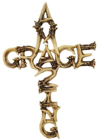 Amazing Grace Antler Christian Wall Cross Home Decor by Pine Ridge - Catholic Crafted Polyresin Art Cross Gift Ideas, 16""