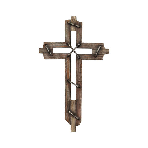 Wood Decorative Wall Crosses Hanging - Religious Wall Art Cross Made From Polyresin - Wedding Crosses to Hang on Wall - Decorative Family Crosses Wall Decor