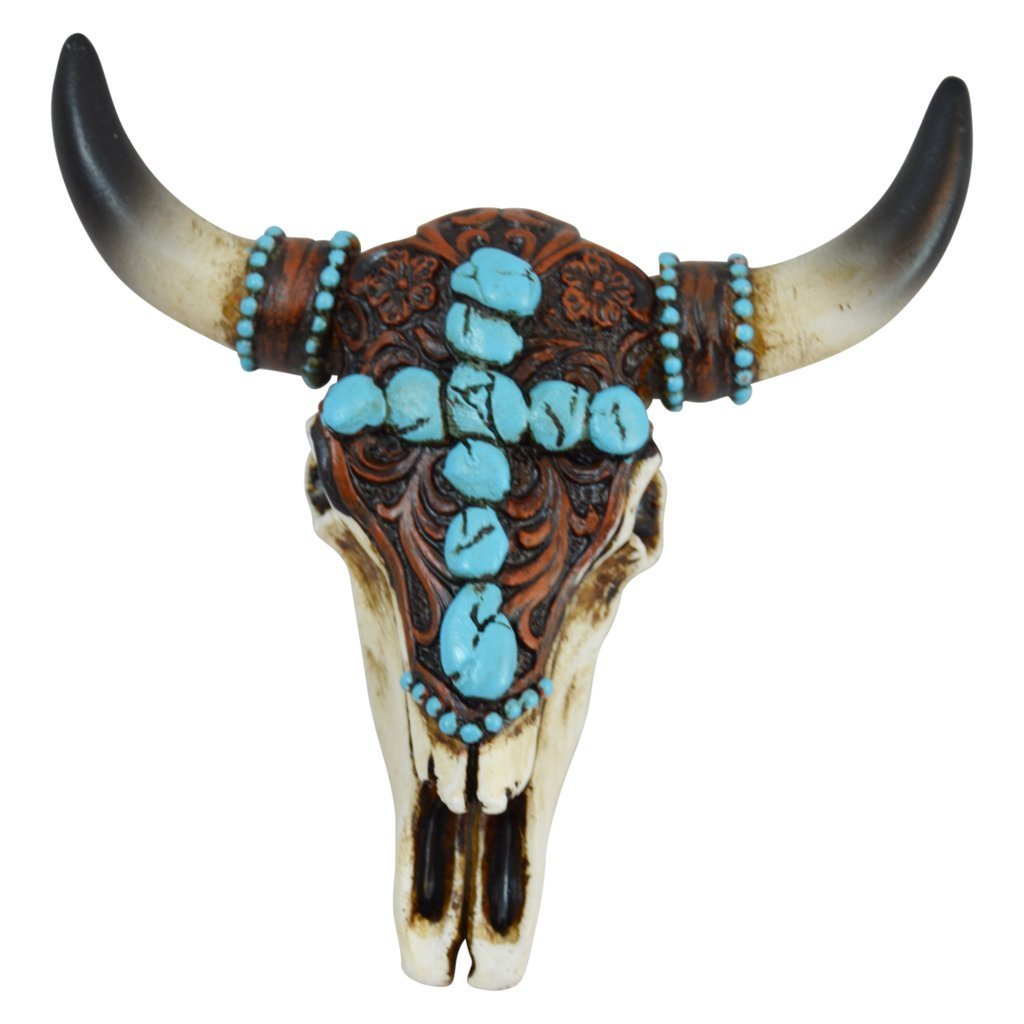 Realistic Look Southwestern Magnetic Steer Skull with Turquoise Pebble Cross