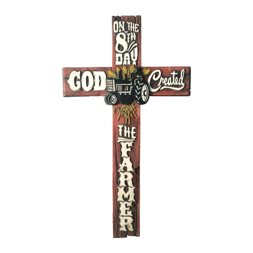 Pine Ridge Wall Cross On the 8th Day God Created the Farmer Home Decor