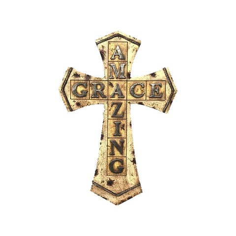 Cross Wall Hanging Home Decor - Decorative Family Crosses Wall Decor Amazing Grace Cross - Wedding Crosses to Hang on Wall Made from Polyresin - Pretty Crosses for Wall - Religious Wall Art Cross