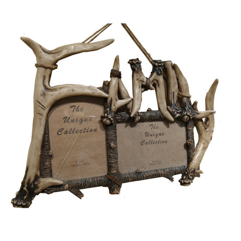 Tabletop Double Antler Family Photo Frame