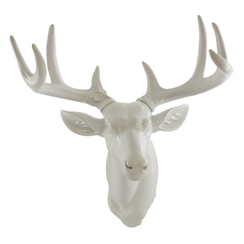 Pine Ridge White Medium Wall Mount Hanging Deer Head and Antlers - Animal Friendly Wall Sculpture Beautifully Hand Painted and Crafted Polyresin For Nature and Wildlife Lovers, Hunters and Outdoorsman - Great For Arts and Crafts
