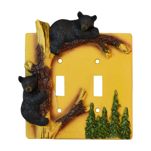 Black Bear Climbing Tree Double Switch Cover