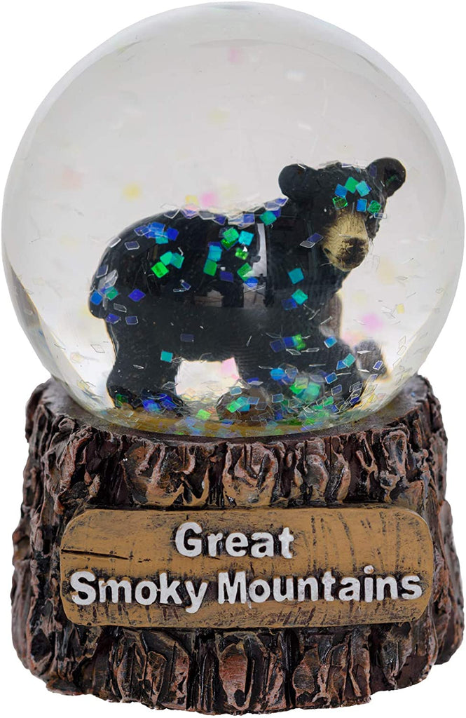Great Smoky Mountains Snow Globe - Black Bear Snow Globe Christmas Light Up Decorations - Glitter Snow Globes Collectibles for Kids - Frozen Snow Globe Decor (Small)