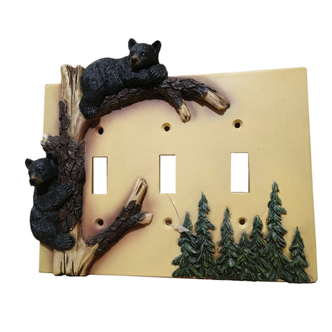 Black Bear Climbing Tree Triple Switch Cover Home Decor