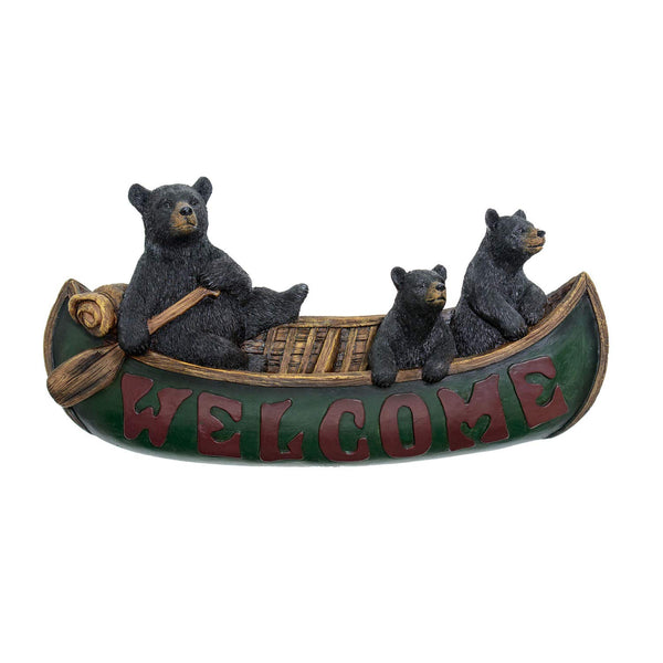 Welcome Bears in Canoe Wall Plaque