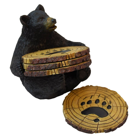 Black Bear Drink Set of 4 Coasters with Rubber Pad Base