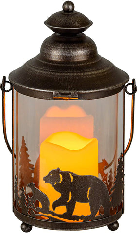 Bear LED Candle Lantern Lights Decorative - LG Round Glass Holder Table top & Hanging Lantern for Indoor Outdoor by Pine Ridge | 3AAA Battery Operated | Flameless | Halloween and Christmas