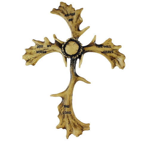 Elk Antler Crucifix Ornament w/ Bible Inscription Joshua 24:15