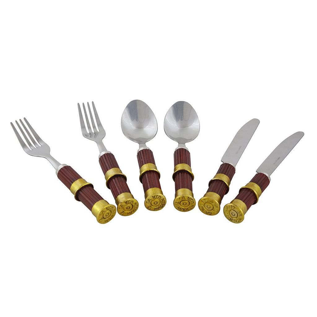 6 Piece Silverware Set Buckshot Shotgun Shell Handles with 2 Forks, 2 Spoons and 2 Knives