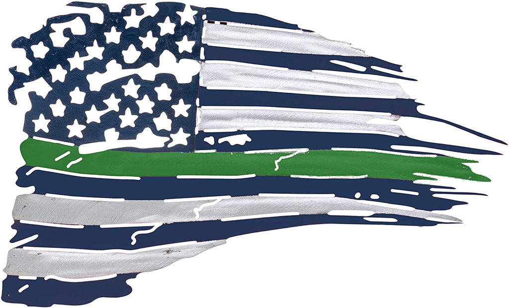 Metal American Flag Wall Decor - Green Line US Flag Metal Art Military Office Decor - America Decorations for Home Patriotic Metal Signs - Outdoor American Flag Steel Wall Decorations
