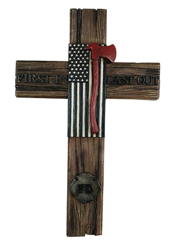 FD First In Last Out Wall Hanging Cross Home Decor by Pine Ridge - American Flag with Ax Decorative Catholic Family Crucifix For The Wall - Unique Home Decor Christian Gifts