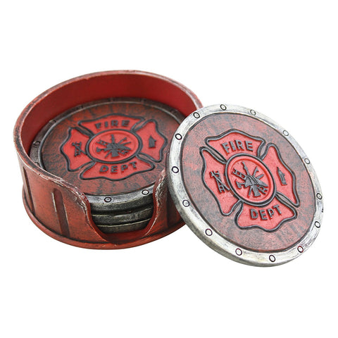 Fire Department Coaster Set - 4 Coasters Fireman Fire Fighter Gift
