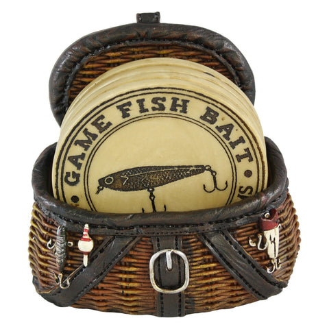 Fishermans Fishing Creel Four Piece Coaster Set With Fishing Basket Base