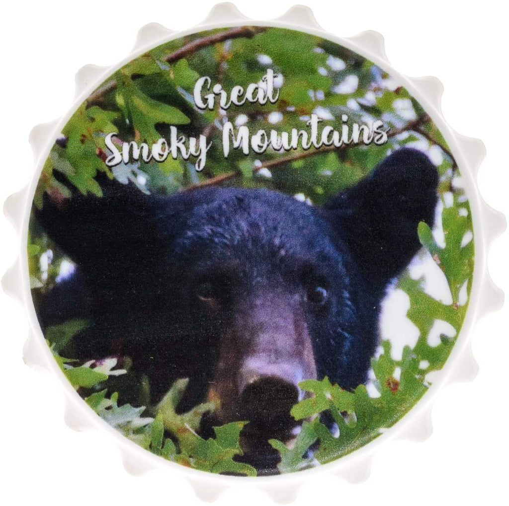 Magnetic Bottle Opener for Refrigerator - Black Bear Great Smoky Mountains Beer Bottle Opener Wall Mount - Bar Accessories and Gifts Bottle Cap Opener