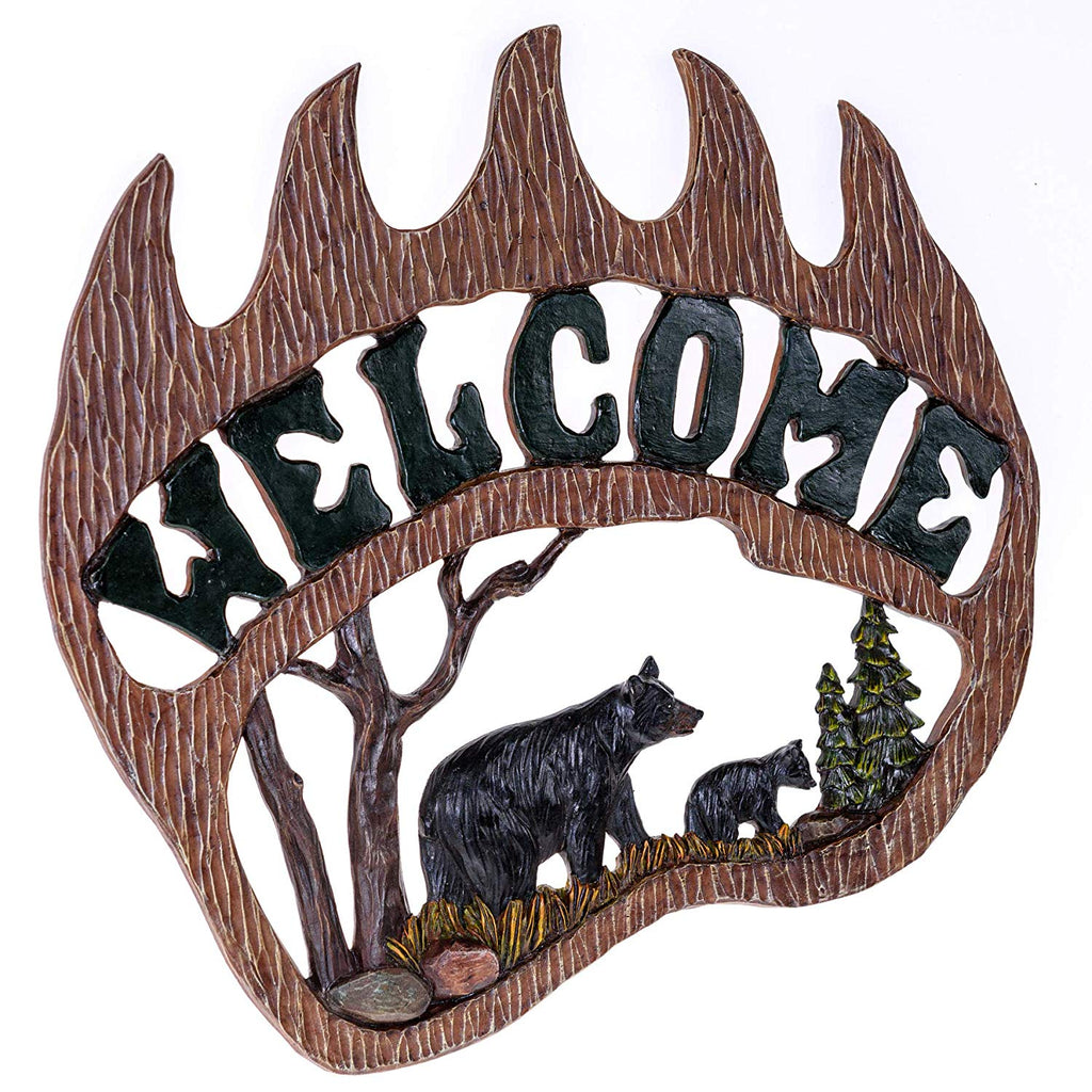Bear Claw Welcome Wall Hanging Sign