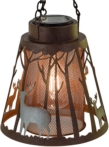 Deer LED Lantern Lights Decorative - Metal Round Holder & Hanging Lantern for Indoor Outdoor by Pine Ridge | 3AAA Battery Operated | Flameless | Halloween and Christmas