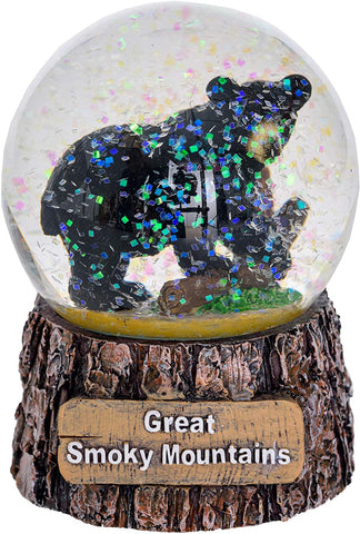 Great Smoky Mountains Snow Globe - Black Bear Snow Globe Christmas Light Up Decorations - Glitter Snow Globes Collectibles for Kids - Frozen Snow Globe Decor (Medium)