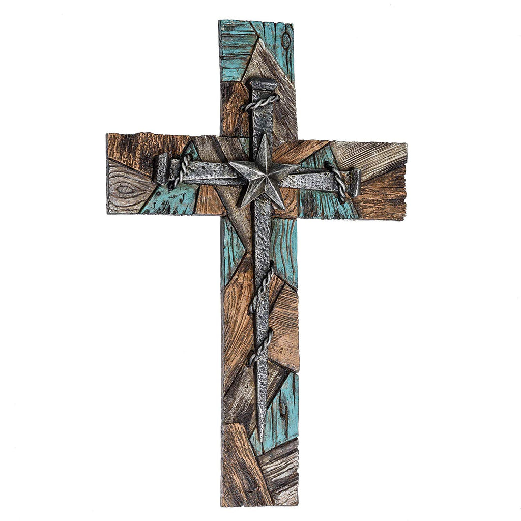 Textured Nail Cross Turquoise