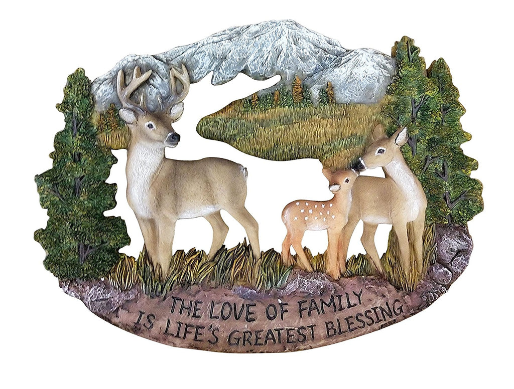 Pine Ridge Deer Family Wall Hanging Plaque Home Decor Inscribed