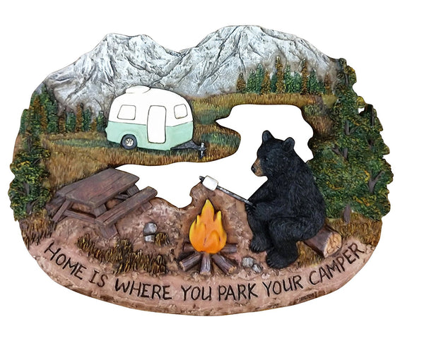 Wall Signs for Home Decor Family - Black Bear Decor Rustic Home Decorative Sign - Bear Decorations for Cabin Decorative Wall Plaques - Wildlife Decor (Home is Where You Park Your Camper, 11.75