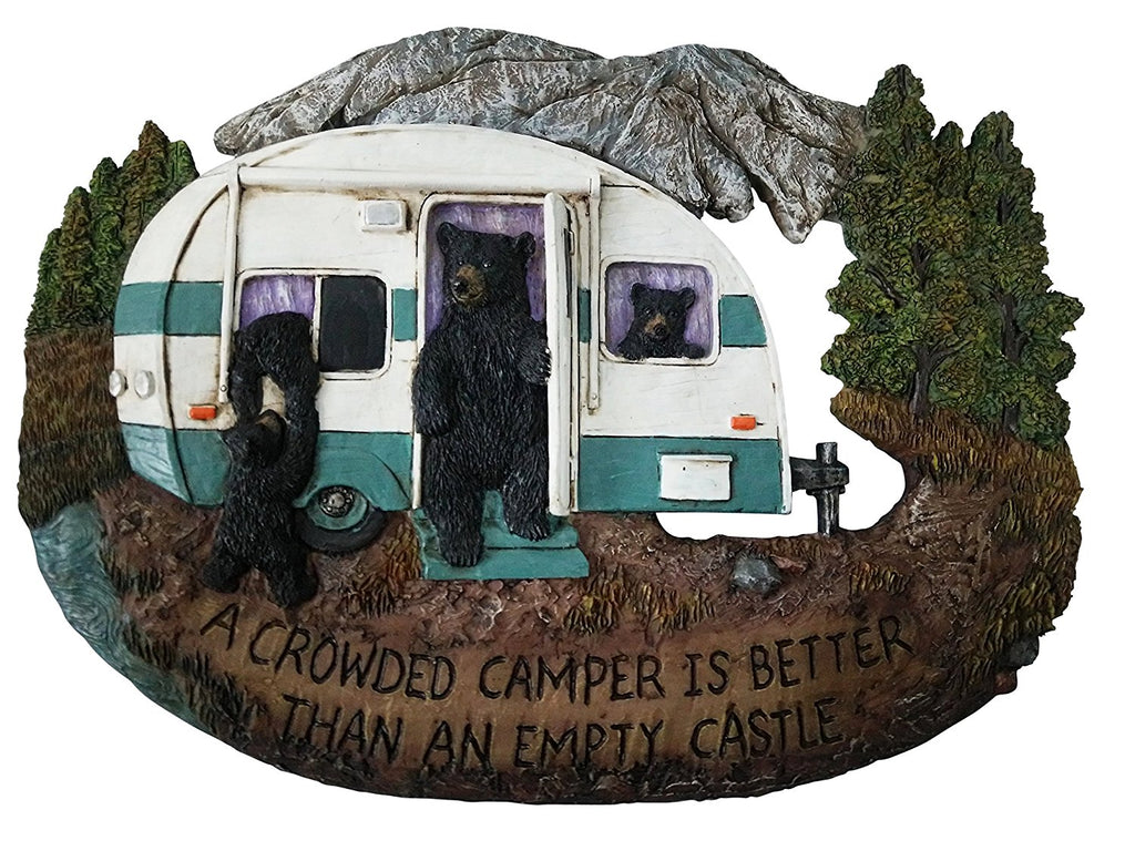 Bear Decor Family Wall Plaque - Black Bear Wall Decorations Home Gifts for Family - Welcome Home Sign Wall Art Plaque Black Bear Decor - A Crowded Camper is Better Than an Empty Castle, 11.75