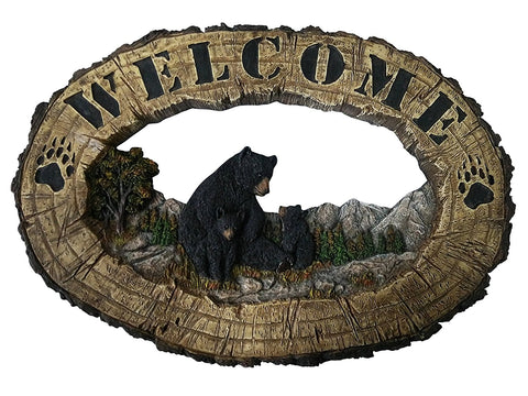 Bear Decor Welcome Home Sign - Outdoor Wall Decor Black Bear Wall Decorations - Rustic Home Decorative Sign Family Wall Plaque Black Bear Decor - Bearfoot Bears Wildlife Decor Wall Art Plaque 14.25
