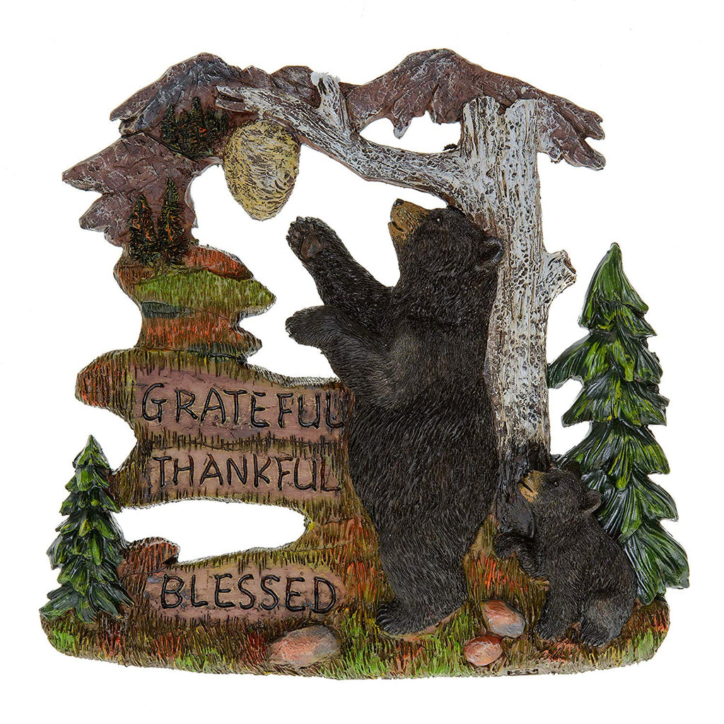 Black Bear Decorations for Home - Wall Signs for Home Decor Family - Decorative Wall Plaques Wildlife Gift Ideas - Bear Wall Hanging Lodge Decorations for Home - Grateful Thankful Blessed 7.87