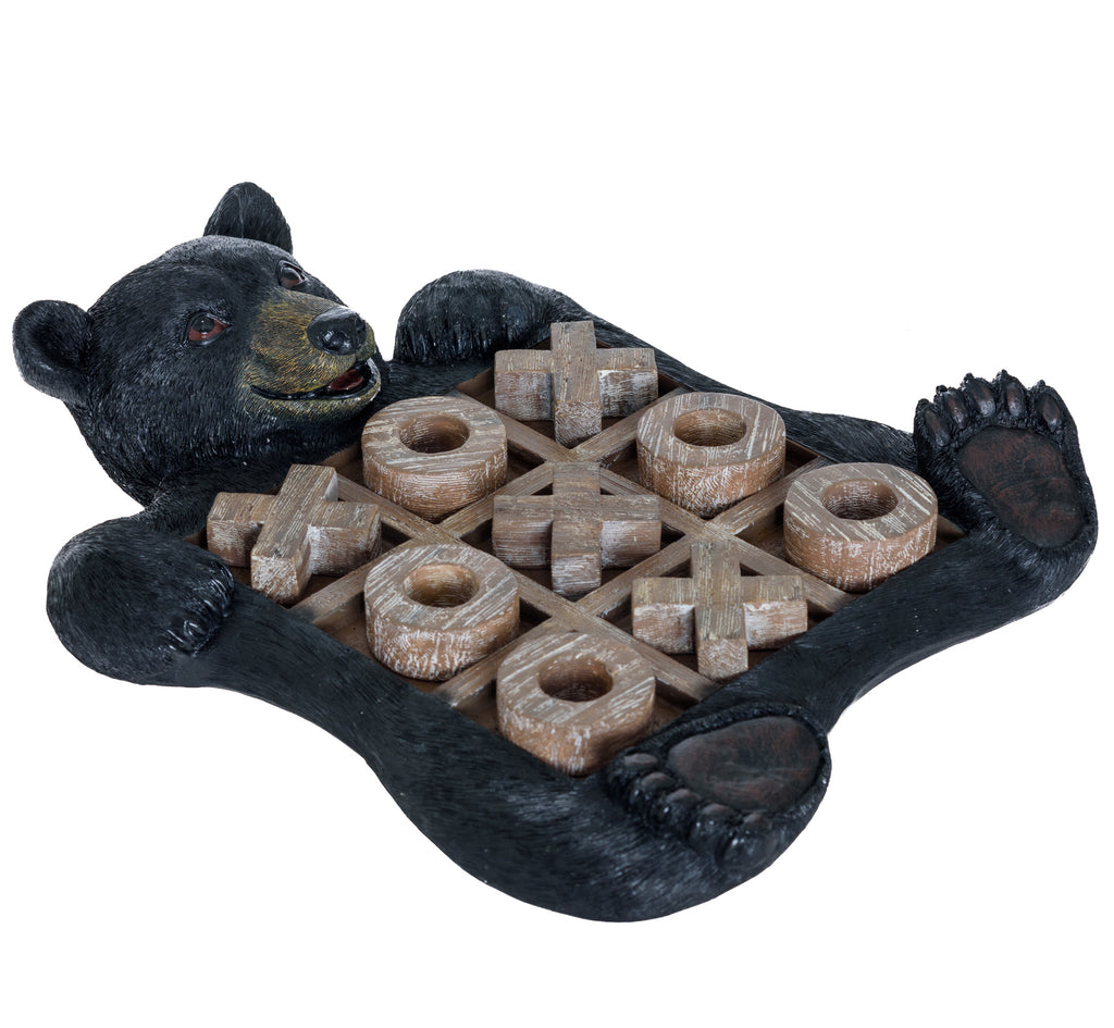 Black Bear Tic Tac Toe Tabletop Game - Tic Tac Toe Decorative Game Teddy Bear Black Rustic Wilderness Home Decor - Indoor Recreational Games Black Bear Decor