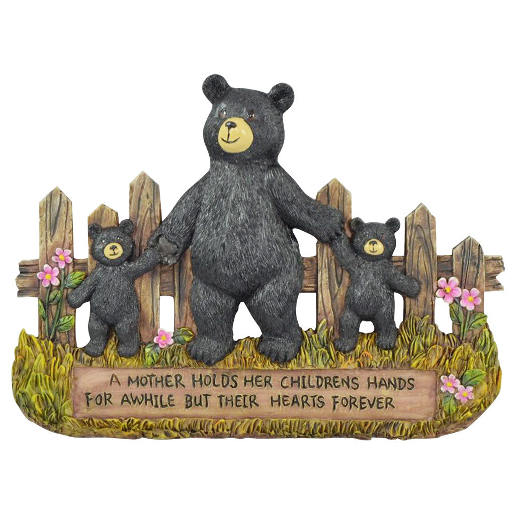 Black Bear Wall Decorations - Family Signs for Home Decor Bear Wall Hanging - Home Gifts for Family Mother & Children Figurine - Mother Holds Her Children's Hands For Awhile But Their Hearts Forever