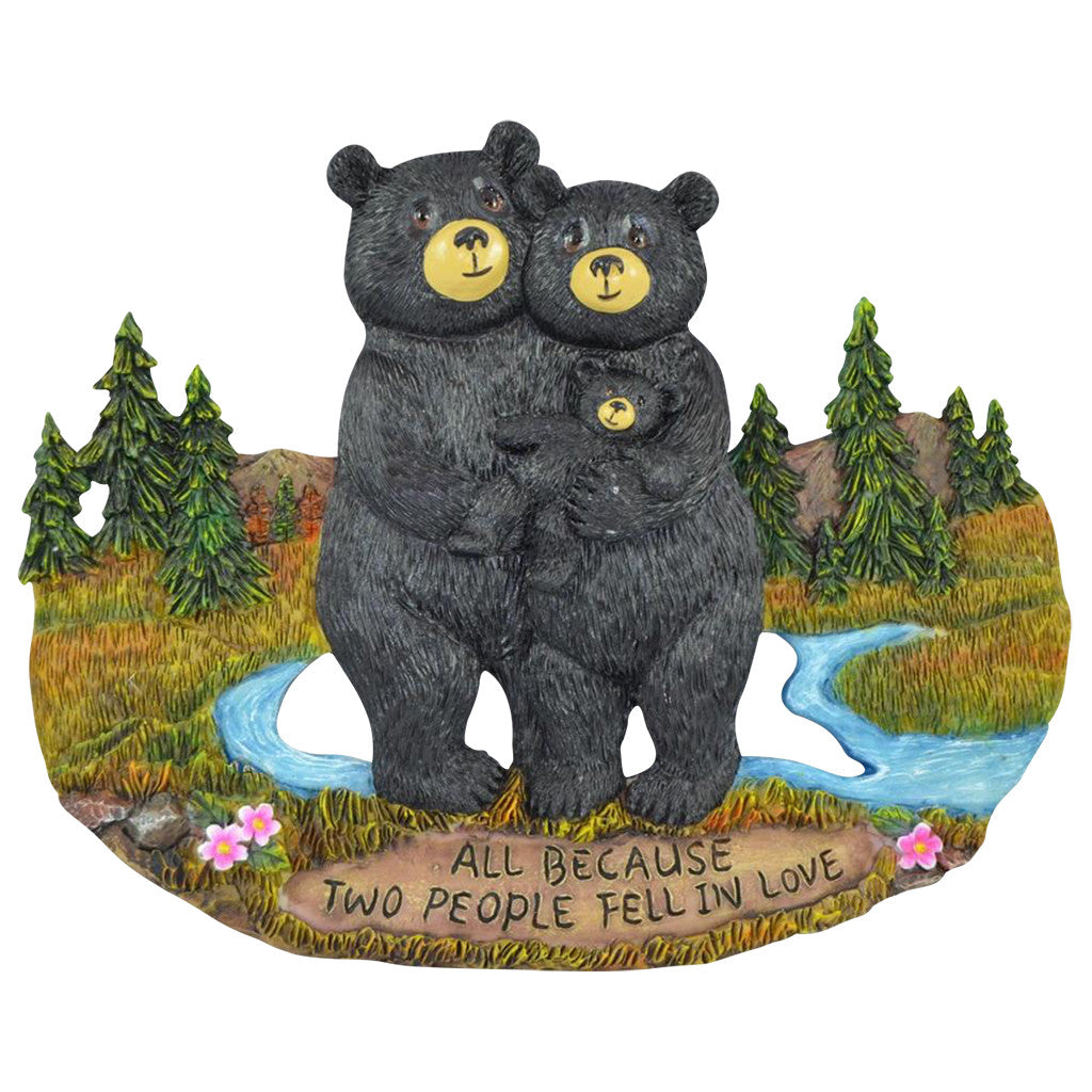 Black Bear Home Gifts for Family - Country Decorations for Home Decor Family Signs - Black Bear Wall Decorations Bear Themed Gifts Wall Art Plaque - All Because Two People Fell In Love