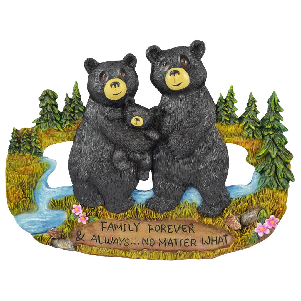 Family Signs for Home Decor - Black Bear Wall Decorations Rustic Home Decor Kitchen Signs - Country Decorations for Home Blessings Wall Plaque Bear Decor - Family Forever & Always No Matter What
