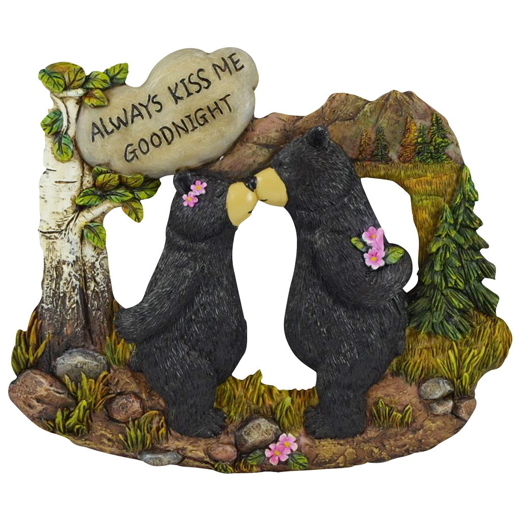 Couple Black Bear With White Stone Inscribed