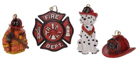 4 Assorted Firefighter Ornaments