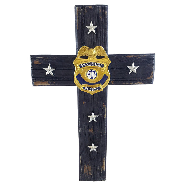 Policeman Police Officer Christian Cop Wall Cross Badge